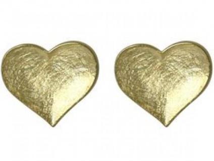 Gemshine Damen Herz Ohrringe 925 Silber Vergoldet Ohrstecker 1, 3 cm