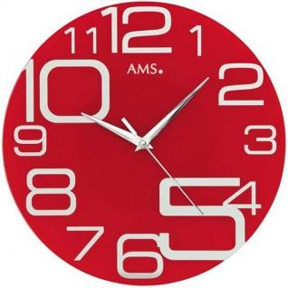 AMS 9462 Wanduhr Quarz analog rot rund modern
