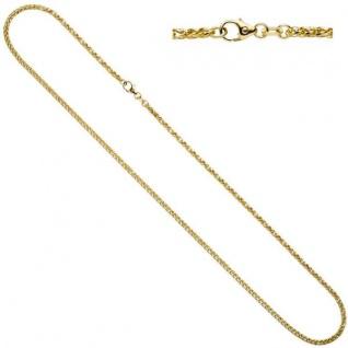 Zopfkette 585 Gelbgold Weißgold kombiniert 45 cm - 1, 9 mm Halskette
