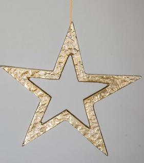 Dekohänger Stern 21 cm mit Hammerschlagoptik, Aluminium in Gold