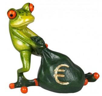 Deko Frosch mit Geldsack Money Tierfigur grasgrün braun 10 cm groß