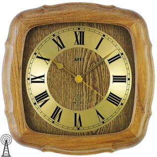 AMS 5932/4 Wanduhr Funk Funkwanduhr analog golden Holz Eiche massiv