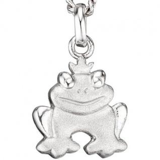 Kinder Anhänger Frosch 925 Sterling Silber rhodiniert mattiert