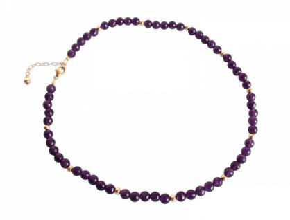 Gemshine Damen Halskette Vergoldet Amethyst Facettiert Violett 45 cm