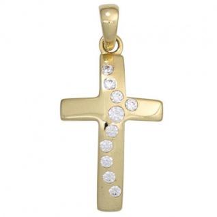 Anhänger Kreuz 333 Gelbgold 10 Zirkonia