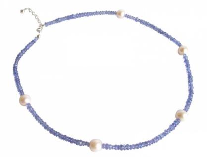 Tansanit und Zuchtperlen Halskette