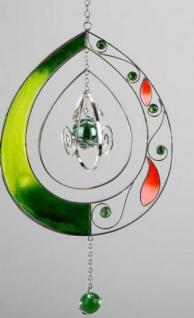 Moderner Dekohänger aus Tiffanyglas Tropfen in Grün, 30 cm