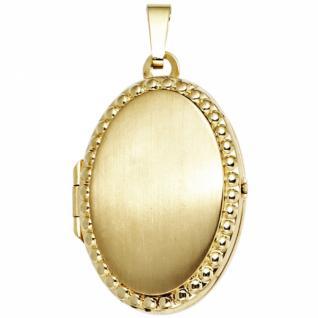 Medaillon oval für 2 Fotos 333 Gold Gelbgold mattiert zum Öffnen