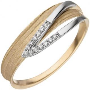 Damen Ring Gelbgold Weißgold bicolor matt Diamanten