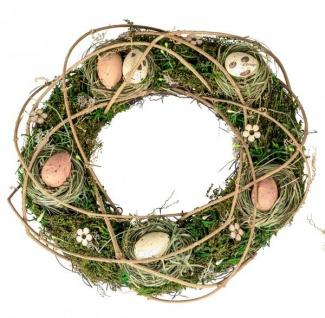 Osterkranz mit Eiern und Moos Sommer-Kranz Frühjahrskranz Wandkranz Türkranz Deko-Kranz Frühling naturfarben 30cm Landhausstil