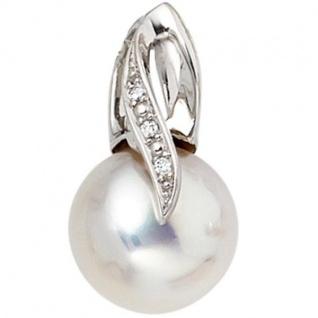 Anhänger 585 Weißgold 1 Süßwasser Perle 3 Diamanten Perlen Anhänger
