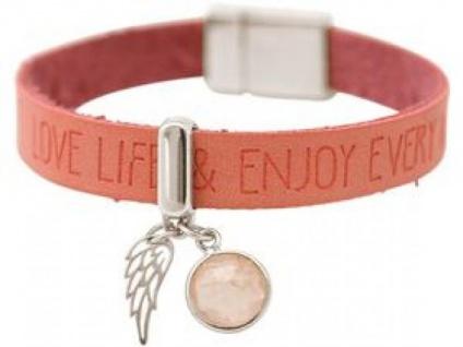 Damen Armband Engel Flügel 925 Silber WISHES Pink Rosenquarz Rosa