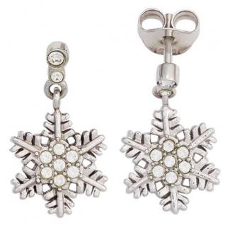 Kinder Ohrhänger Schneeflocke 925 Silber mit Zirkonia Ohrringe