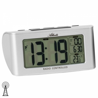 Atlanta 1813/19 Wecker Funk digital silbern mit Snooze Digitalwecker