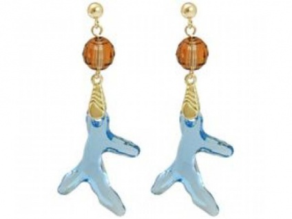Ohrringe Vergoldet Koralle Blau MADE WITH SWAROVSKI ELEMENTS®