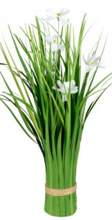 Künstliche blühende Cosmea-Blume als Bund grün weiß 42 cm