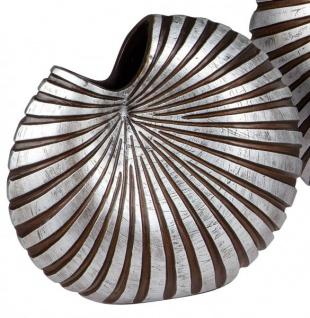 antik rustikale Vase Keramik mit Loch schwarz silber 18 x 17 cm