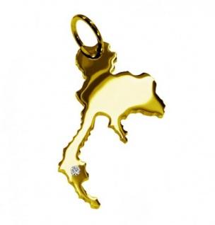 THAILAND Kettenanhänger mit Brillant am Wunschort aus massiv 585 Gold