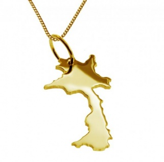 LAOS Kettenanhänger aus massiv 585 Gelbgold mit Halskette