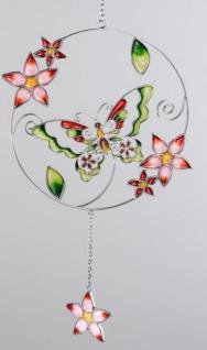 Hängedeko Schmetterling aus Tiffanyglas in Rot Grün, 36 cm