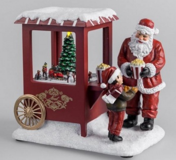 Spieluhr beleuchtet mit LED Nikolaus mit Popcorn, 18 cm