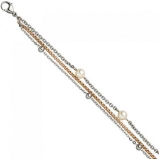 Armband 3-reihig Edelstahl bicolor 21 cm SWAROVSKI® ELEMENTS