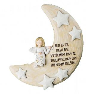 GILDE Mondsichel mit Engel für die Wand in Beige Gold, 6 cm