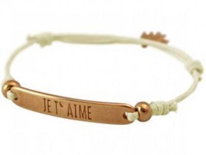 Gemshine Damen Armband Gravur JE T?Â?´AIME Rose Vergoldet Nude