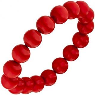 Armband aus Muschelkern Perlen rot 19 cm Perlenarmband elastisch