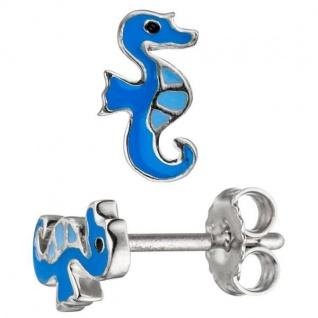 Kinder Ohrstecker Seepferdchen 925 Sterling Silber blau Ohrringe Kinderohrringe