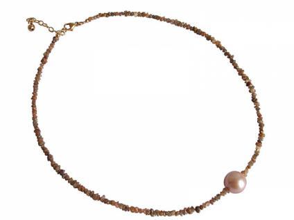 Damen Halskette Diamant Champagner Bronze Perle Lachs Rose 45 cm