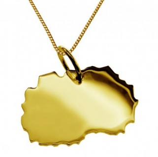 MAKEDONIEN Kettenanhänger aus massiv 585 Gelbgold mit Halskette