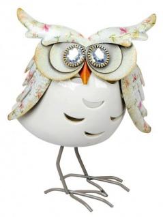 Windlicht-Eule Kerzenhalter Eulen-Deko Teelichthalter owl Blilliant-Augen Metall Porzellan 20cm weiß
