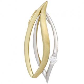 Anhänger 585 Gelbgold Weißgold kombiniert teilmattiert 1 Diamant