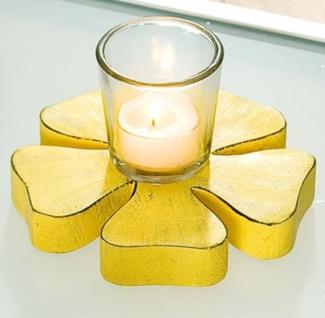 Gilde Kerzenhalter in Blümchenform mit Glas, gelb, 8 x 14 cm