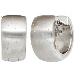 Creolen breit rund 925 Sterling Silber mattiert mit Glitzereffekt
