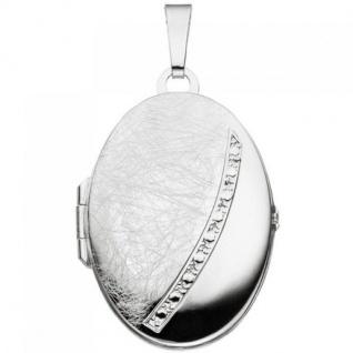 Medaillon oval Anhänger zum Öffnen für 2 Fotos 925 Silber mit Kette 50 cm - Vorschau 3