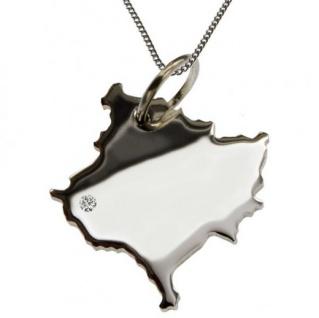 KOSOVO Anhänger aus 925 Silber mit Brillant am Wunschort mit Halskette