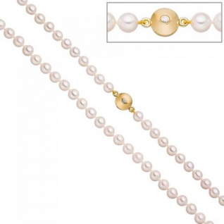 Perlenkette aus Akoya Perlen 45 cm Schließe 925 Silber gold vergoldet 2 Zirkonia
