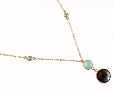 Halskette Anhänger Silber Vergoldet Chalcedon Rauchquarz Grün 45 cm