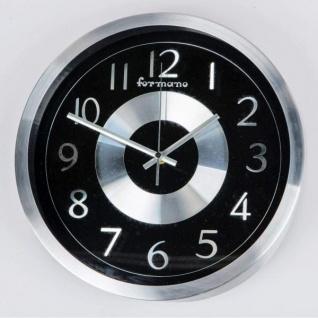 Moderne Wanduhr Glas Design rund schwarz silber 30 cm - Vorschau