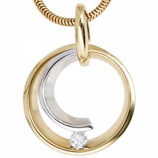 Anhänger rund 585 Gelbgold Weißgold 1 Diamant Brillant 0, 10 ct.