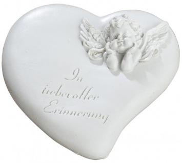 Grabschmuck Wetterfest Grabstein Herz mit Grab-Engel und Aufschrift - Grabdekoration Weiß 13x13cm