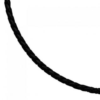 Leder Halskette Kette Schnur schwarz 60 cm Karabiner 925 Silber - Vorschau 2
