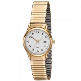 JOBO Damen Armbanduhr Quarz Analog Edelstahl gold vergoldet