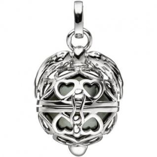 Anhänger Kugel zum Öffnen Herz Flügel 925 Sterling Silber mit Perle