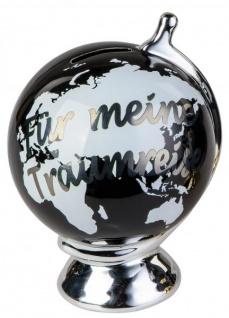 Sparschwein Globus Für meine Traumreise schwarz silber 13 x 17 cm