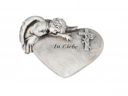 Grabschmuck Grab-Herz mit Engel und der Aufschrift In Liebe Grabdekoration Deko-Herz Schutzengel Grableger wetterfest antik grau 17x14cm