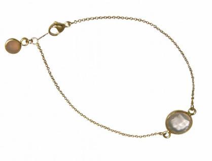 Armband Vergoldet Rosenquarz Rosa Facettiert 19 cm
