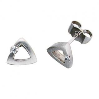 Ohrstecker dreieckig 950 Platin mattiert 2 Diamanten 0, 07 ct.